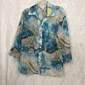 Dress Barn sheer floral paisley button down top 18